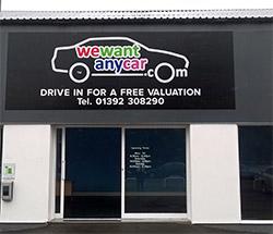 Sell your car at WeWantAnyCar Exeter branch