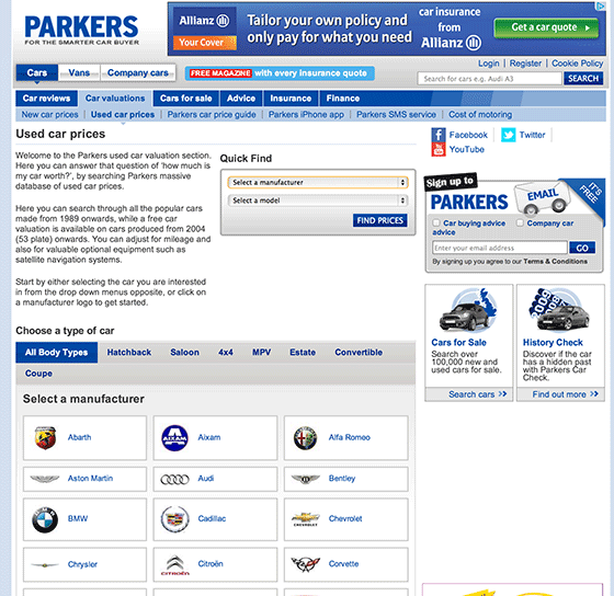 Parkers used car prices web page
