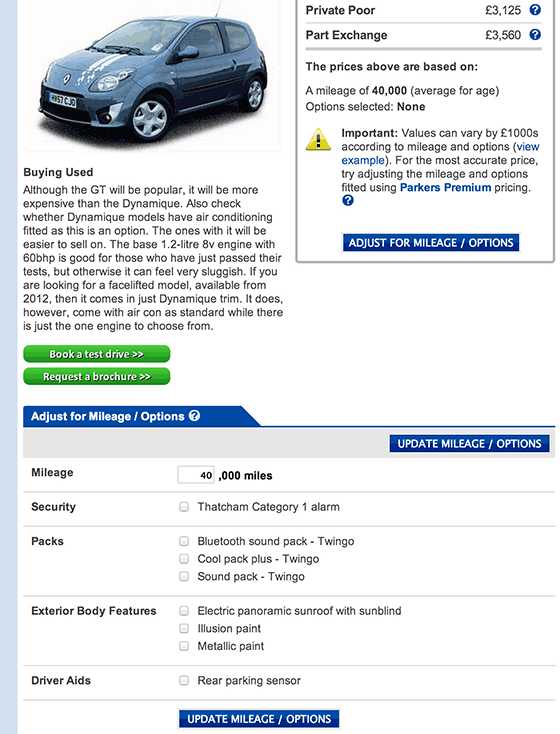 Parkers car valuation page - adjustments section